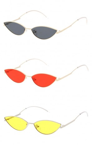 Women's Small Metal Cat Eye Flat Lens Wholesale Sunglasses