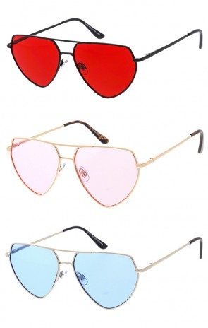 Metal Frame Flat Top Color Lens Aviator Wholesale Sunglass