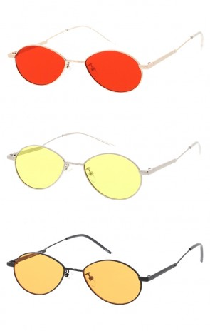 Thin Wire Frame Oval Color Lens Wholesale Sunglasses
