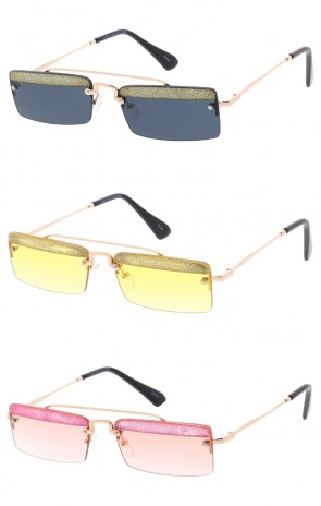Glitter Rimless Rectangle Neutral Colored Lens Wholesale Sunglasses