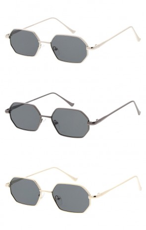 Small Metal Geometric Neutral Colored Lens Wholesale Sunglasses