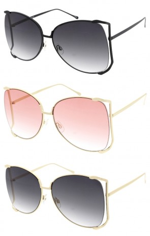 Semi Rimless Oversize Frame Gradient Lens Wholesale Sunglasses