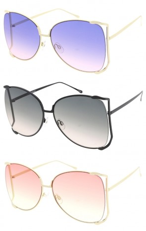 Semi Rimless Oversize Frame Colored Tinted Gradient Lens Wholesale Sunglasses