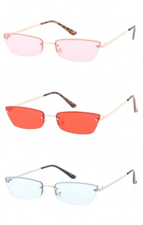 Small Frameless Cateye Color Lens Wholesale Sunglasses
