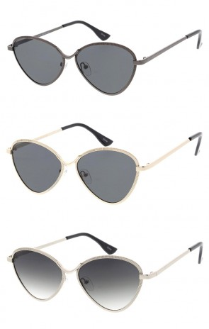 Women's Textured Metal Cat Eye Neutral Colored Lens Wholesale Sunglasses