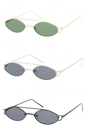 Small Metal Crossbar Oval Neutral Colored Lens Wholesale Sunglasses
