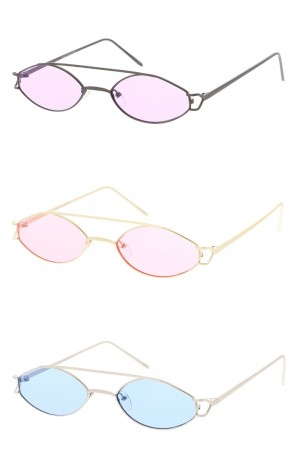 Small Metal Crossbar Oval Color Tinted Lens Wholesale Sunglasses