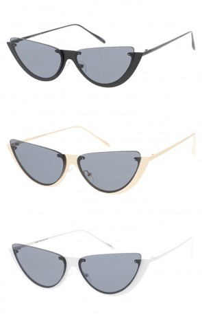 Semi Rimless Metal Cat Eye Neutral Colored Lens Wholesale Sunglasses