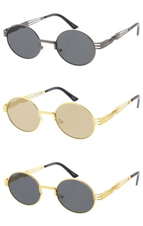 Steampunk Oval Frame Colored Mirror Lens Wholesale Sunglasses