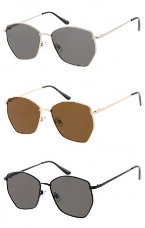 Unisex Geometric Metal Frame Neutral Colored Lens Wholesale Sunglasses