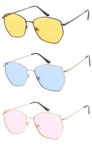 Unisex Geometric Metal Frame Color Tinted Flat Lens Wholesale Sunglasses