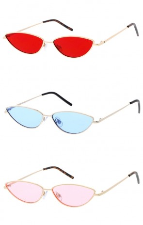 Women's Small Metal Cat Eye Color Tinted Flat Lens Wholesale Sunglasses