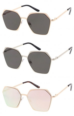 Unisex Geometric Metal Hexagon Colored Mirror Flat Lens Wholesale Sunglasses