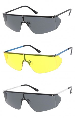 b4ba755a1a74 Retro Style Futuristic Shield Frame Wholesale Sunglasses