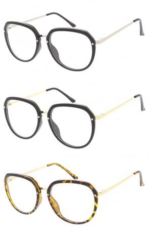 Womens Plastic Frame Aviators Clear Lens Wholesale Glasses