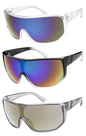 Futuristic Oversized Shield One Piece Mirror Lens Wholesale Sunglasses