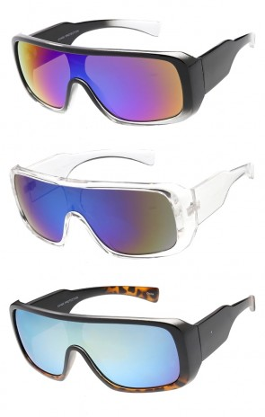 Sports Shield Aggressive Wholesale Sunglasses w / Mirror Lens