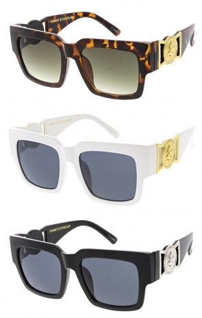 Vivant Horned Rim Luxury Square Logo Wholesale Sunglasses