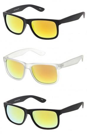 Reflective Lens Horned Rim Wholesale Sunglasses