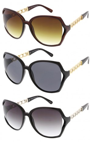 Womens Oversized Metal Frame High Fashion Sunglasses