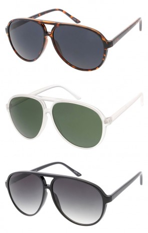 Men's Large Aviator Neutral Colored Lens Wholesale Sunglasses