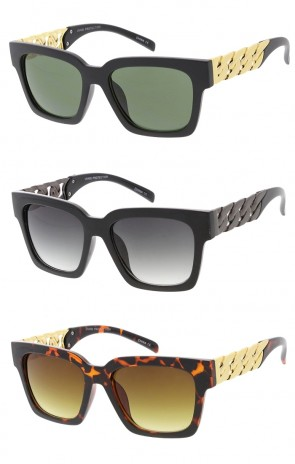Fashion Square Frame Couture Style Sunglasses w Chain Arms