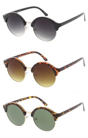 Round Semi-Rimless Vintage Style Sunglasses