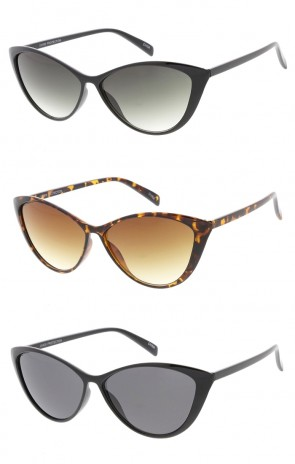 Classic Shape Cat Eye Sunglasses with Mixed Lens Options