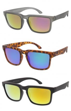 Horn Rimmed Soft Matte Mirror Lens Wholesale Sunglasses