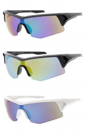 Sport Wrap Around Half Frame Mirror Lens Wholesale Sunglasses