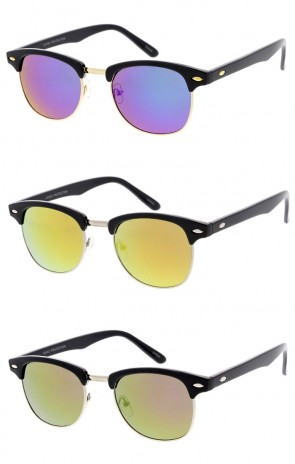 Unisex Semi Rimless Horn Rimmed Colored Mirror Lens Wholesale Sunglasses
