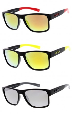 Men's KUSH Horn Rimmed Square Mirrored Lens Wide Arm Wholesale Sunglasses