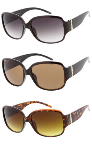 Vintage Style Oversized Chunky Wholesale Sunglasses with Diamond Studded Arms