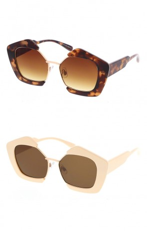 Retro Half Frame Plastic Block Frame UV400 Sunglasses