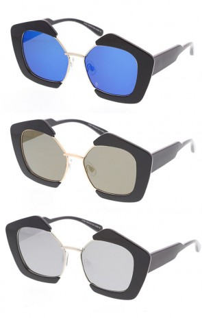 Retro Half Frame Plastic Block Frame UV400 Sunglasses Flash Mirror Lens