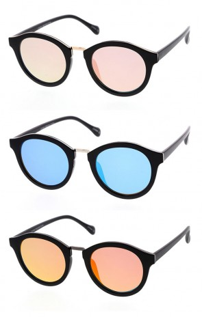 Mirrored Retro Womens Plastic Frame Sunglasses