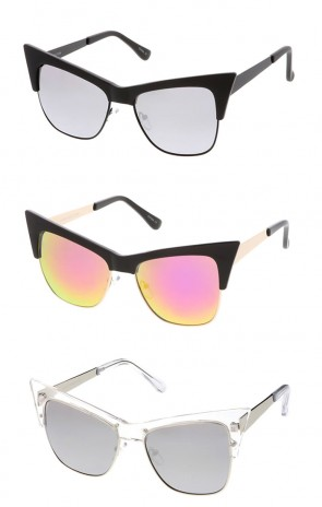 Women's Combo Extreme Cat Eye Mirror Lens Wholesale Sunglasses