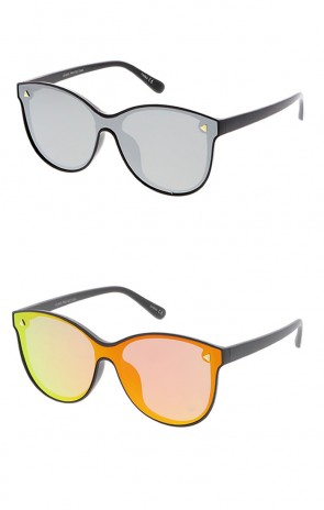 Women's Plastic Round Mirror Shield Frame Wholesale Sunglasses