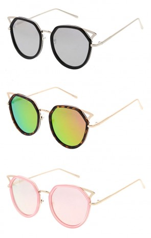 Wholesale Oversized Cateye Mirrored Lens Sunglasses