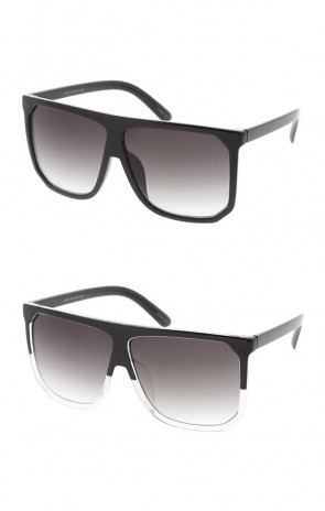 Oversize Two Toned Frame Square Lens Flat Top Wholesale Sunglasses