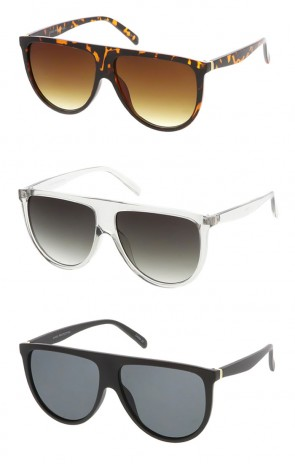 Modern Oversize Flat Top Neutral Color Flat Lens Aviator Wholesale Sunglasses