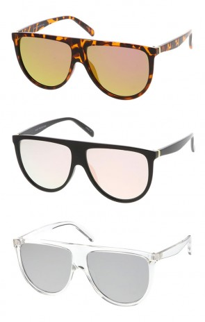 Oversize Modern Flat Top Color Mirrored Flat Lens Aviator Wholesale Sunglasses