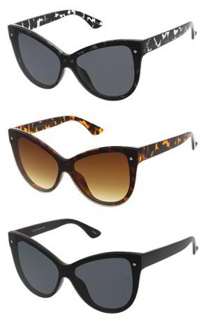 Wholesale Oversized Plastic Cateye One Piece Lens Sunglasses