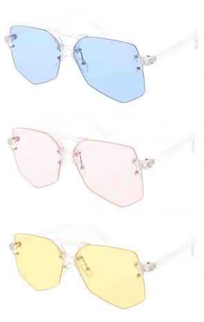 Women's Rimless Gradient Flat Lens Wholesale Sunglasses