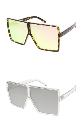Retro Modern Flat Top Revo Lens Wholesale Sunglasses