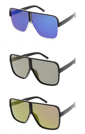 Oversized Flat Top Aviator Mirror Lens Wholesale Sunglasses