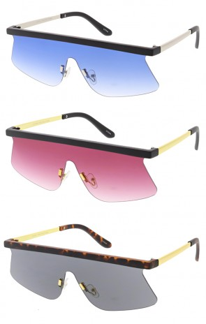 Retro Modern Flat Top Shield Wholesale Sunglasses