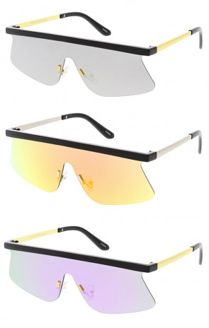 Retro Modern Flat Top Shield Mirror Lens Wholesale Sunglasses