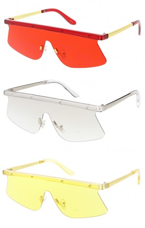 Retro Modern Flat Top Shield Pantone Lens Wholesale Sunglasses