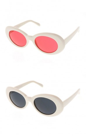 Retro 90's Fashion Oval Round Clear Lens Wholesale Sunglasses